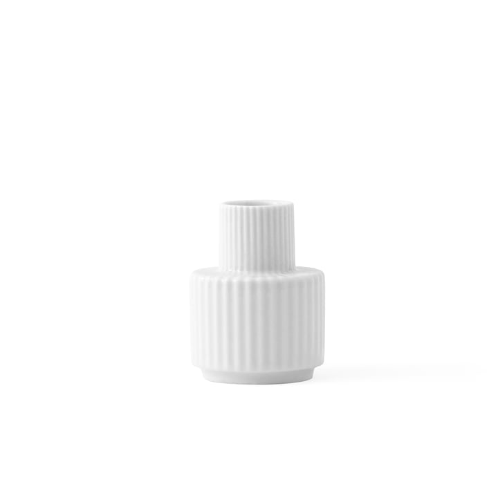 Candlestick H 7 cm from Lyngby Porcelæn in white