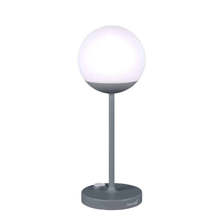 Mooon! Battery LED Lamp H 40 cm by Fermob in Storm Grey