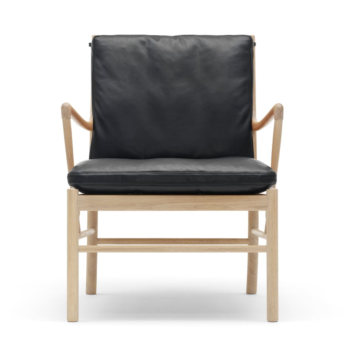 Carl Hansen - OW149 Colonial Chair, soaped oak / black leather (SIF 98)