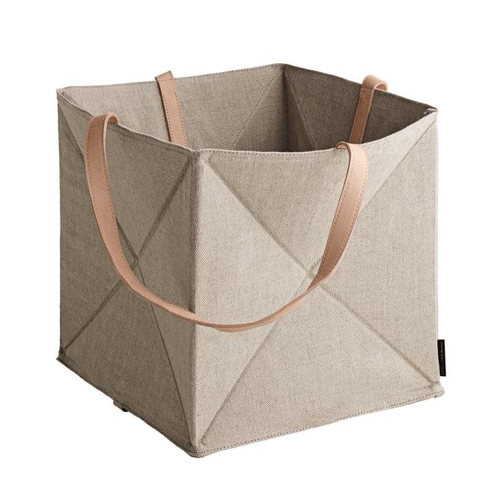 The Fritz Hansen - Origami Storage Basket H 29 cm, linen / natural leather