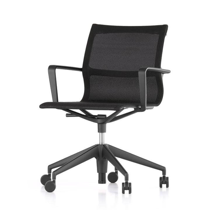 The Vitra - Physix Studio Office swivel chair, TrioKnit black pearl cover, frame colour jet black, soft castors for hard floors