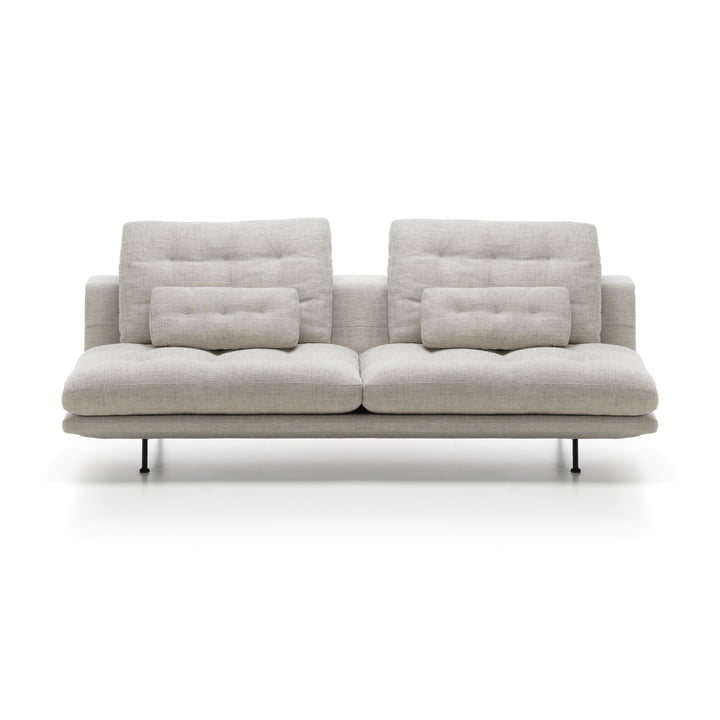 The Vitra - Grand Sofà 3-Seater, Basic Dark Base / Beige / Corsaro Stone Melange 05 Upholstery (Tufted)