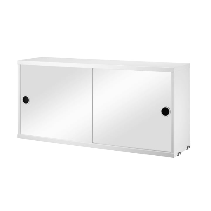 Cabinet Module with Sliding Doors 78 x 30 cm by String, mirrored/white