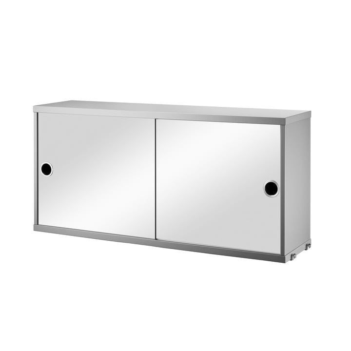 Cabinet Module with Sliding Doors 78 x 30 cm by String, mirrored/grey