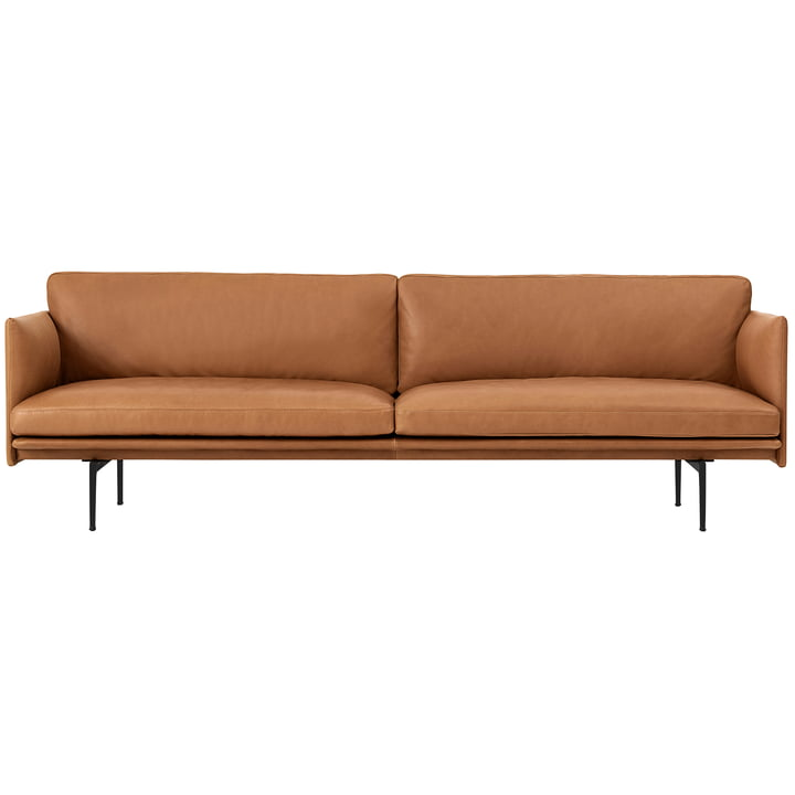 Outline sofa 3-seater from Muuto in cognac Silk Leather / black (RAL 9017)