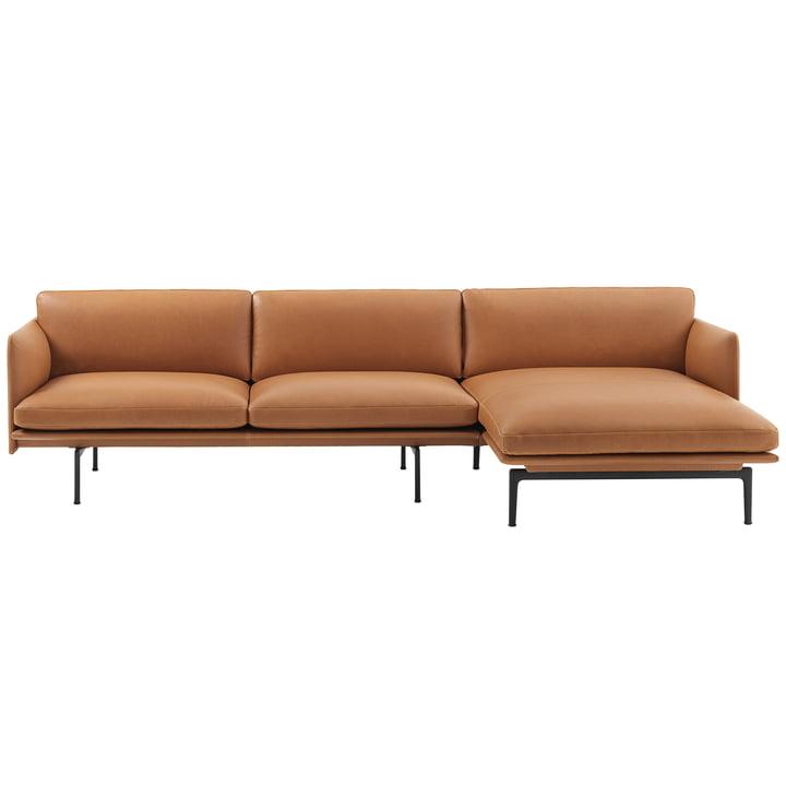 Outline 3er corner sofa right of Muuto in cognac Silk Leather / black (RAL 9017)