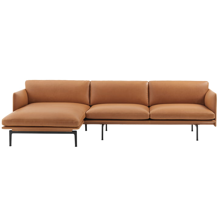 Muuto - Outline Sofa 3-seater with right chaise longue, cognac silk leather / traffic black (RAL 9017) (EU)