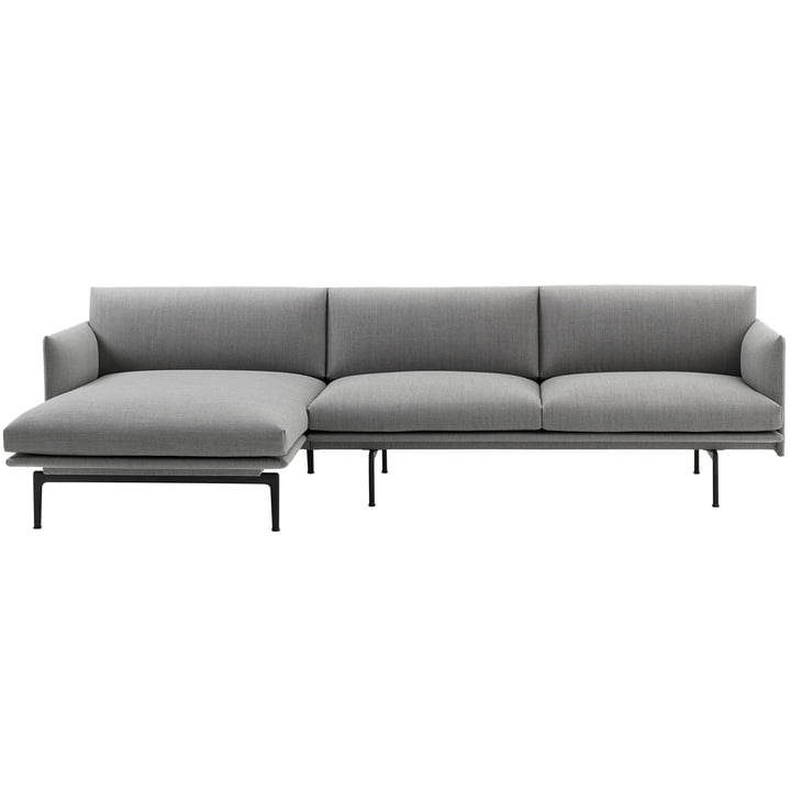 Muuto - Outline Sofa 3-seater with right chaise longue, cognac silk leather / traffic black (RAL 151) (EU)
