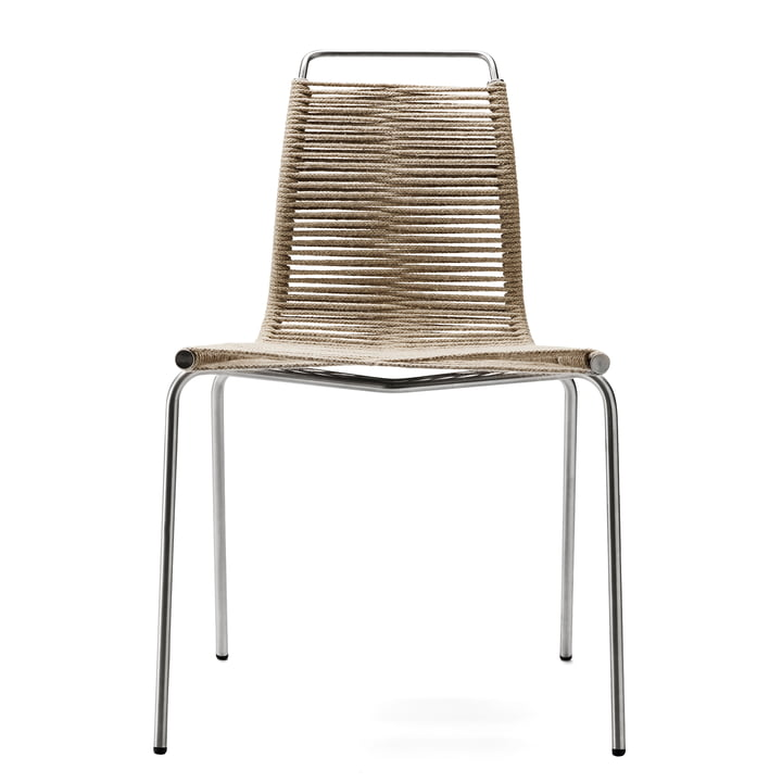 Carl Hansen - PK1 Indoor Chair, chrome-plated steel / nature halyard