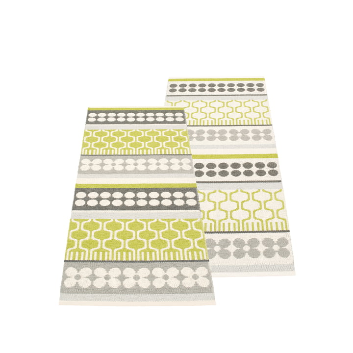 Asta Reversible Rug 70 x 180 cm by Pappelina in Lime