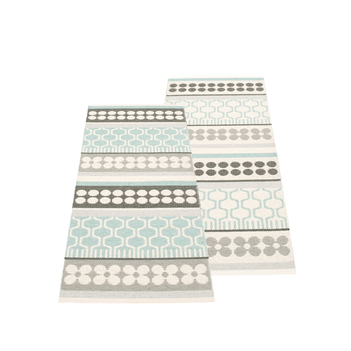 Asta Reversible Rug 70 x 180 cm by Pappelina in Pale Turquoise