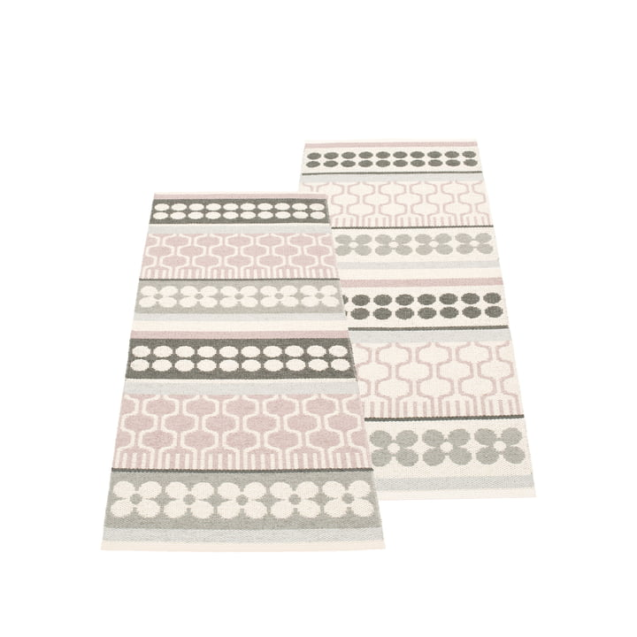 Asta Reversible Rug 70 x 180 cm by Pappelina in Pale Rose