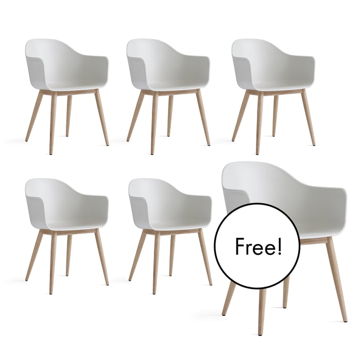 5+1 Offer Set: Menu - Harbour Chair (wood), natural oak / white