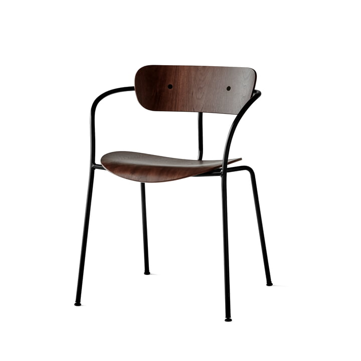 Pavilion Armchair by &Tradition with Black Base / Lacquered Walnut