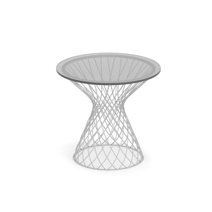 Emu - Heaven Side table H 47 cm, Ø 45 cm, white / glass transparent