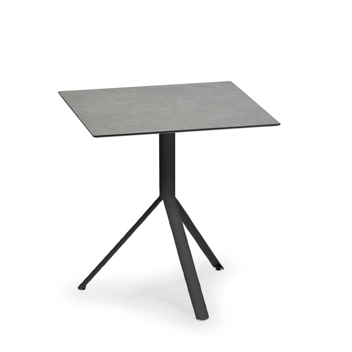Weishäupl - Trio Bistro Table Square, 60 x 60 cm, black stainless steel / HPL stone grey