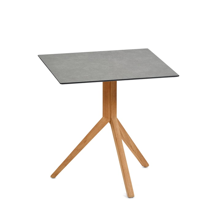 Weishäupl - Trio Bistro Table Square, 70 x 70 cm, teak / HPL stone grey