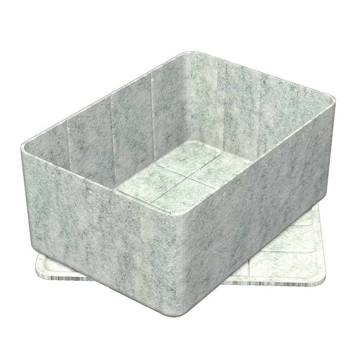 Inos Box with Tray, 45.3 x 32.2 cm, H 19 cm by USM in Light Grey
