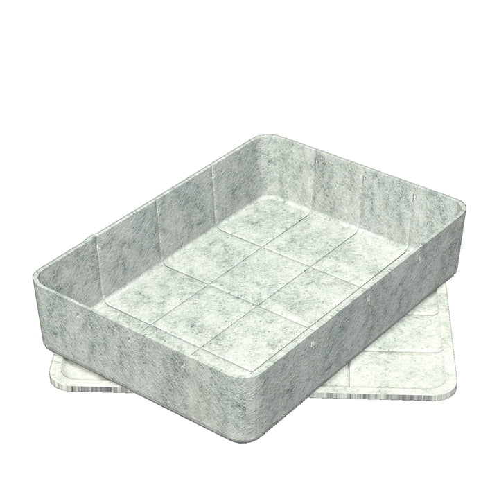 Inos Box with Tray, 45.3 x 32.2 cm, H 9,5 cm by USM Haller in Light Grey