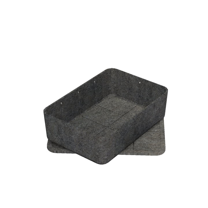 Inos Box with Tray, 22.3 x 32.2 cm, H 9.5 cm by USM Haller in Anthracite