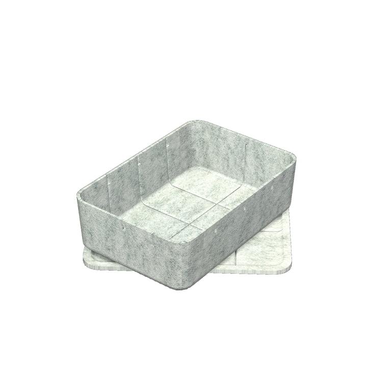 USM Haller - Inos Box with Tray, 22.3 x 32.2 cm, H 9,5 cm / light grey