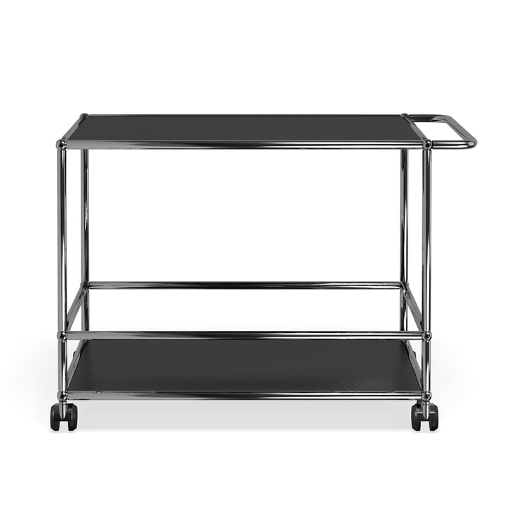 Serving trolley by USM Haller in graphite black (RAL 9011)