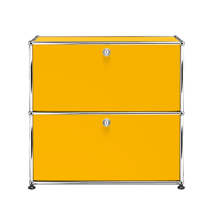 The USM Haller - Sideboard S with Two Drop-Down Doors, Gold Yellow (RAL 1004)