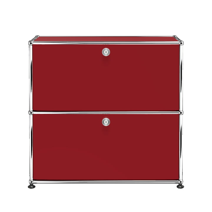 The USM Haller - Sideboard S with Two Drop-Down Doors, USM Ruby Red with Two Drop-Down Doors (RAL 1004)