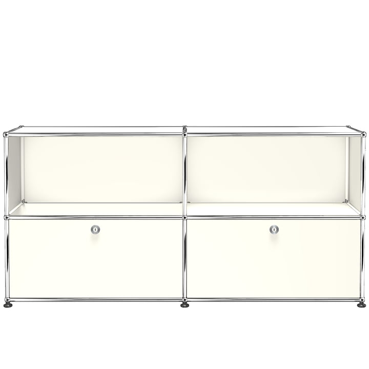 The USM Haller - Sideboard M with Two Bottom Drop-Down Doors, Pure White (RAL 9010)