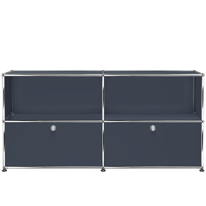 The USM Haller - Sideboard M with Two Bottom Drop-Down Doors, Anthracite Grey (RAL 7016)