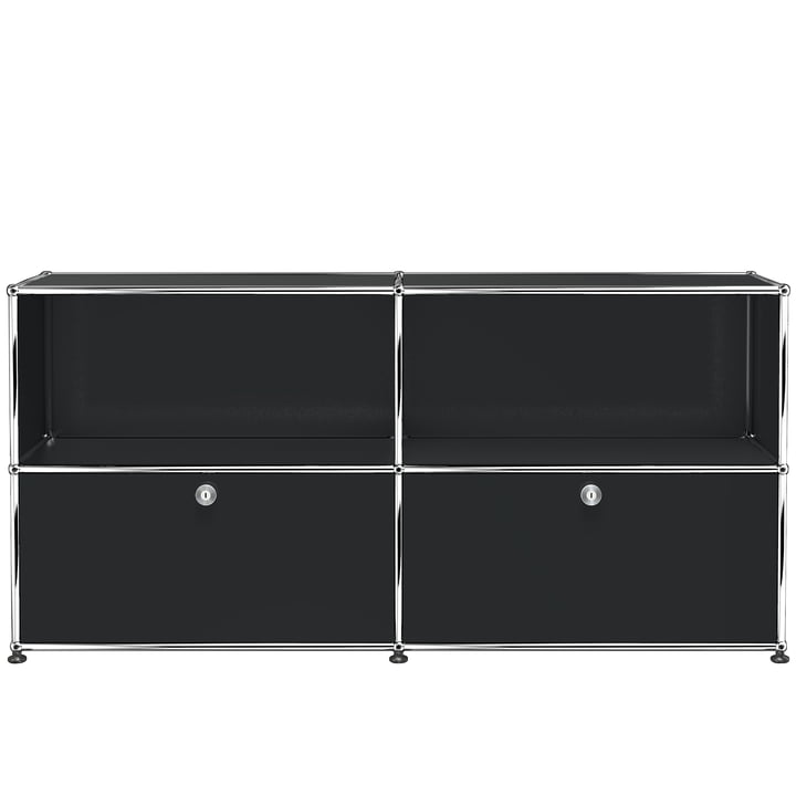The USM Haller - Sideboard M with Two Bottom Drop-Down Doors, Graphite Black (RAL 9011)