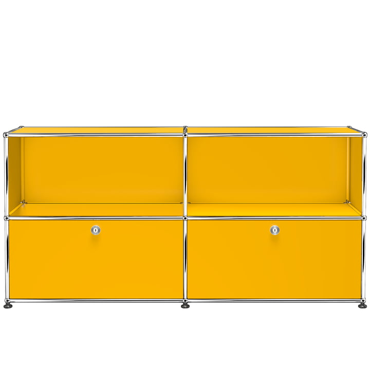 The USM Haller - Sideboard M with Two Bottom Drop-Down Doors, Gold Yellow (RAL 1004)