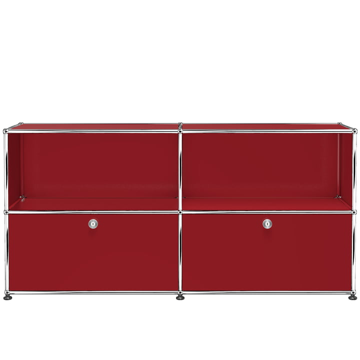 The USM Haller - Sideboard M with two bottom drop-down doors, ruby red