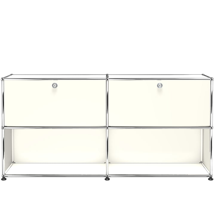 The USM Haller - Sideboard M with Two Drop-Down Doors, Pure White (RAL 9010)