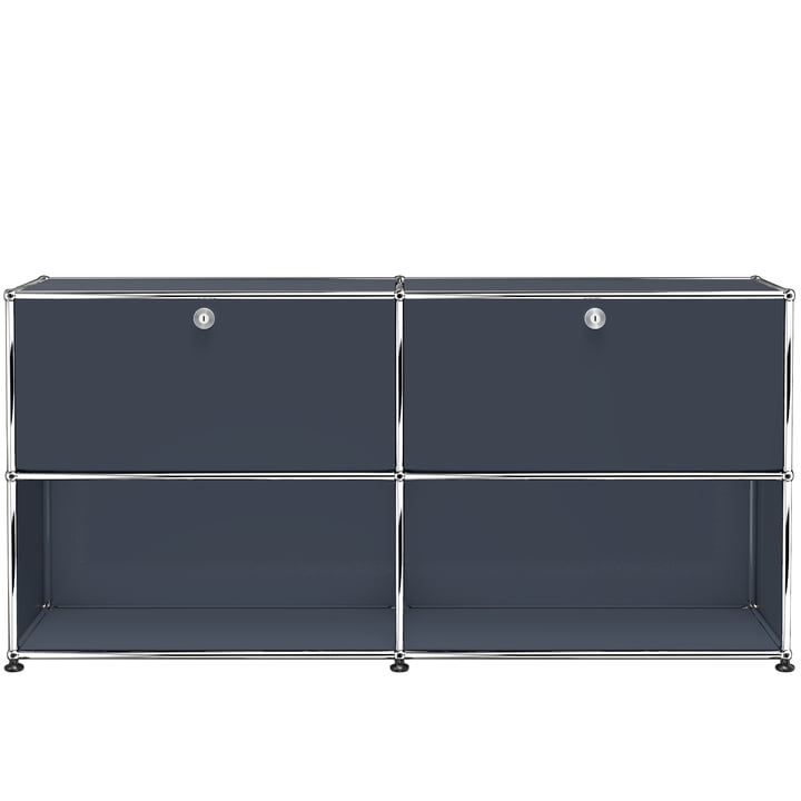 The USM Haller - Sideboard M with Two Drop-Down Doors, Anthracite Grey (RAL 7016)