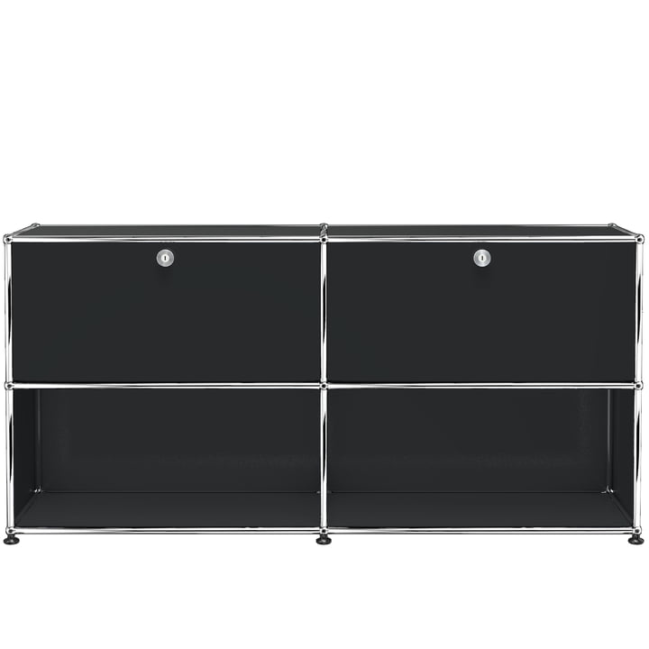 The USM Haller - Sideboard M with Two Drop-Down Doors, Graphite Black (RAL 9011)