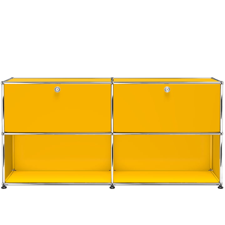 The USM Haller - Sideboard M with two top drop-down doors, gold yellow (RAL 1004)