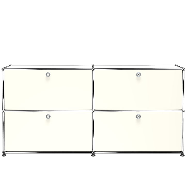 The USM Haller - Sideboard M with Four Drop-Down Doors, Pure White (RAL 9010)