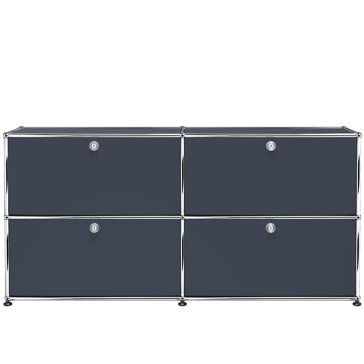 The USM Haller - Sideboard M with Four Drop-Down Doors, Anthracite Grey (RAL 7016)