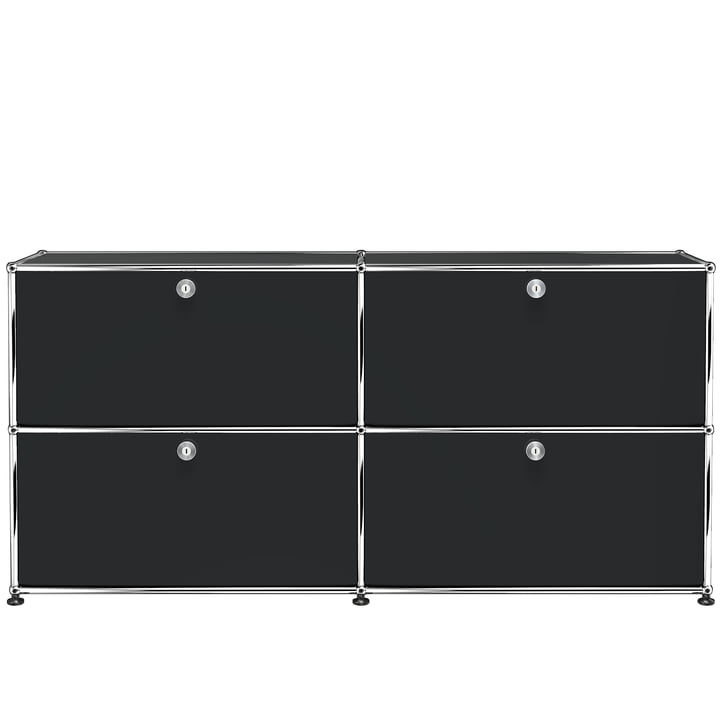 The USM Haller - Sideboard M with Four Drop-Down Doors, Graphite Black (RAL 9011)