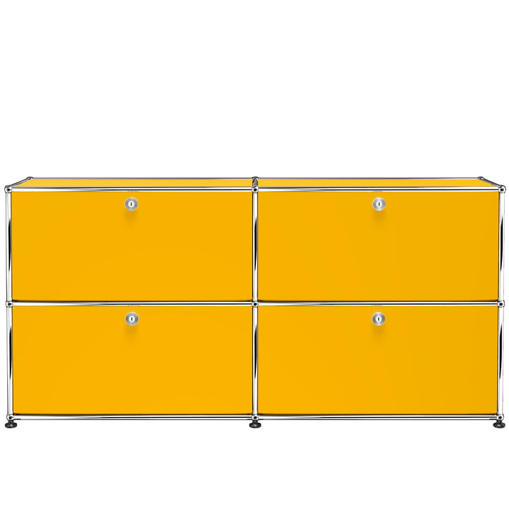 The USM Haller - Sideboard M with Four Drop-Down Doors, Gold Yellow (RAL 1004)