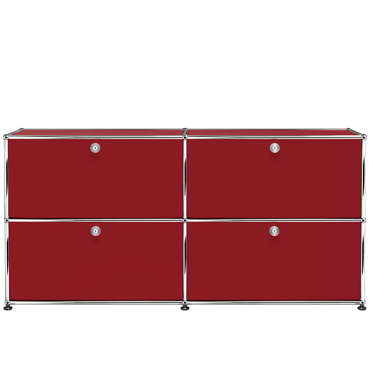The USM Haller - Sideboard M with Four Drop-Down Doors, USM Ruby Red