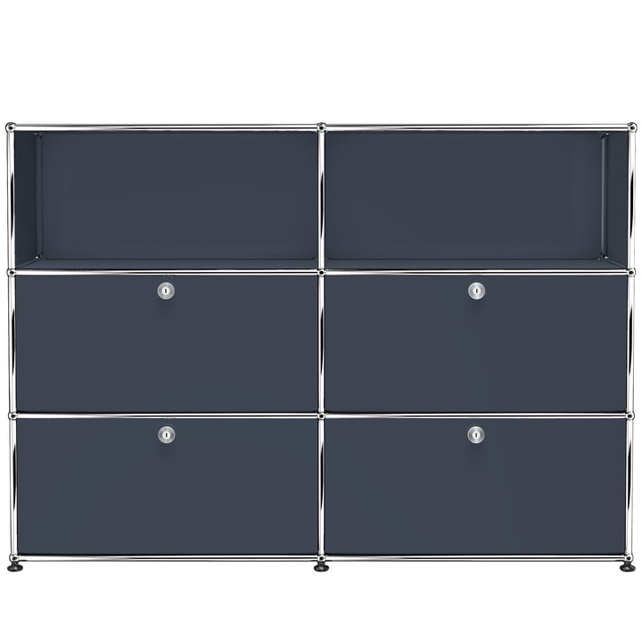 USM Haller -Storage Unit M with Four Drop-Down Doors, anthracite grey (RAL 7016)