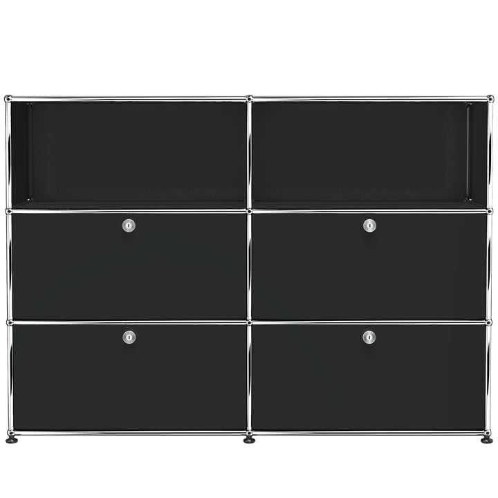 The USM Haller - Storage Unit M with Four Drop-Down Doors, Graphite Black (RAL 9011)