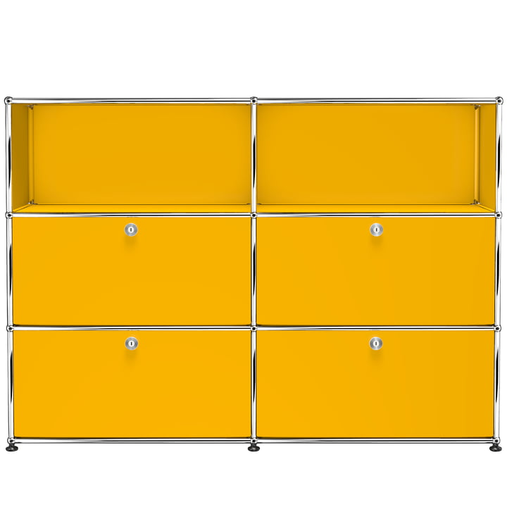 The USM Haller - Storage Unit M with Four Drop-Down Doors, Gold Yellow (RAL 1004)