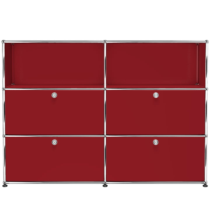 USM Haller - Storage Unit M with four drop-down doors, USM ruby red