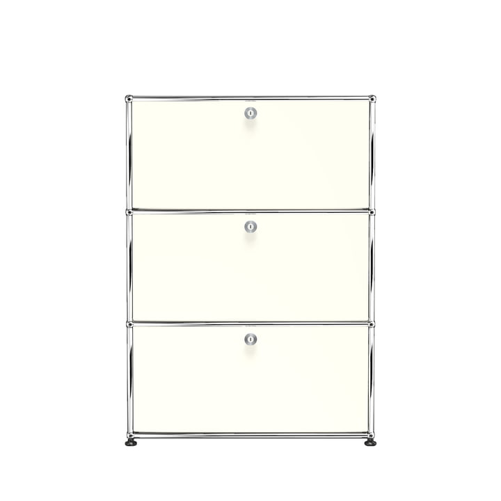 The USM Haller - Storage Unit S with three drop-down doors, pure white (RAL 9010)
