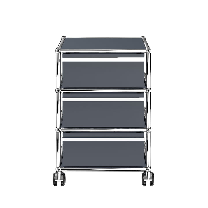 The USM Haller - Mobile Cabinet with Three Drawers, Anthracite Grey (RAL 7016)
