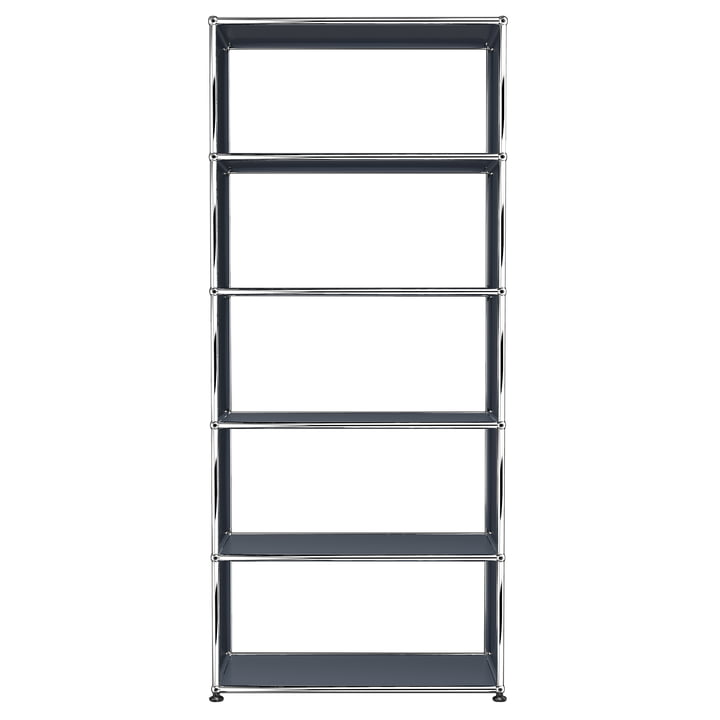 USM Haller - Shelf S with 5 Compartments, Anthracite Grey (RAL 7016)