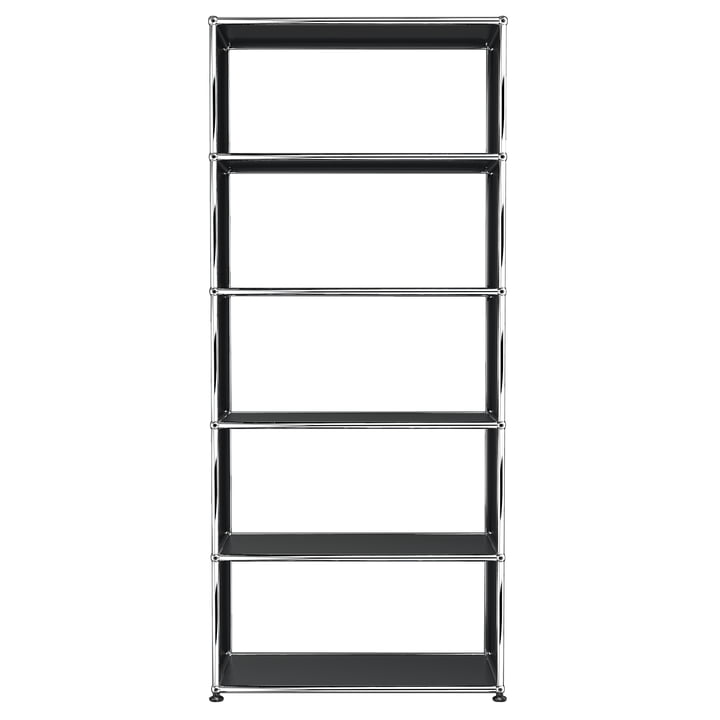 The USM Haller - Shelf S with 5 Compartments, graphite black (RAL 9011)